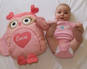 Organic baby toy owl stuffed - Personalized Owl Pillow -  Sweet Heart Owl Baby Shower - salmon colour, flowery, striped - HET -