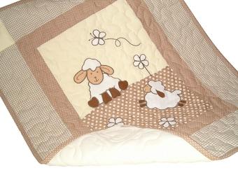 Lamb Baby Blanket, Natural Baby Quilt Blanket