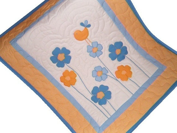 Baby Blanket, Floral Baby Girl Quilt Blanket, Nursery Decor, Crib Bedding, Yellow and Skyblue Room Decor