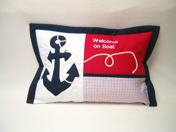 NAUTICAL  PILLOW -  Blue Red and White- Nautical Ocean Beach Theme - HET