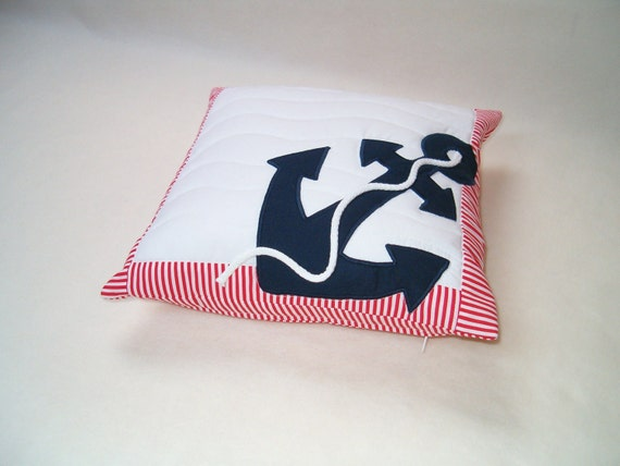 Nautical Pillow, Decorative Throw Pillow, Anchor Pillow Case