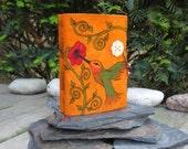 Orange Suede Leather Journal Sketchbook - Hummingbird with flower