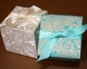 SALE ! - SeaGreen/Teal Favor Boxes  - Great for Weddings, Parties and Events - Handmade Couture Paper - SALE 0.65 Per Box - Minimum Order 50