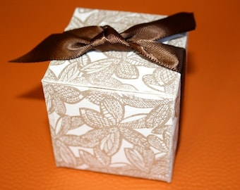 Favor Boxes made from handmade paper with Screen print in Gold - Great for Weddings, Parties and Special Events