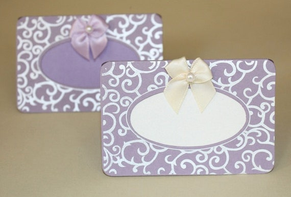 SALE ! - DIY Lavender Swirls Place Cards  - Weddings, Receptions, Events - Handmade Paper - Absolutely Gorgeous Only 0.25 Each Minimum 50