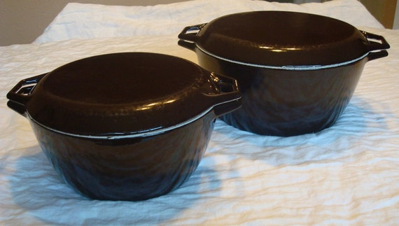 20% OFF SALE Pair HUGE vintage mid century Copco Danish Modern enameled cast iron dutch ovens D3 D4
