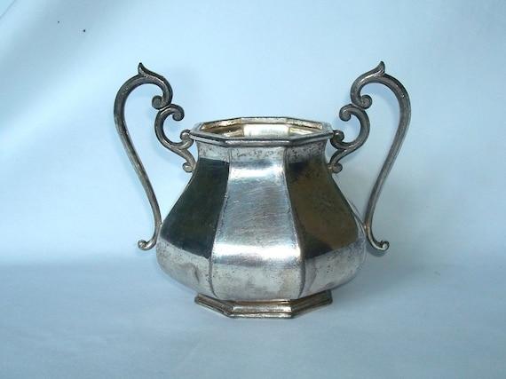 Antique vintage Derby Silver Co trophy cup vase sugar bowl quadruple plate 01C2C