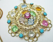 Floral Filagree Colorful Glass Pendant Necklace Gorgeous
