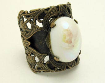 Huge Bronze Filagree Wrap Ring with Milk Glass Cabochon