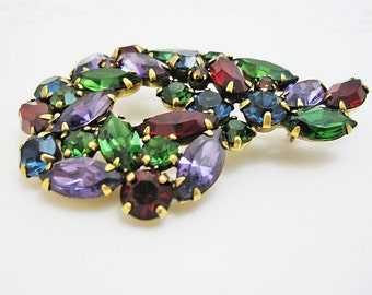 Brooch Signed Weiss Big Bold and Beautiful Pin in Red Green Purple and Blue Goldtone