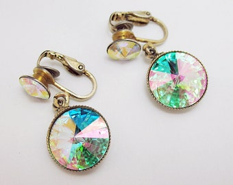 Vintage Rivoli cut Aroura borealis crystal clip on earrings. gorgeous.
