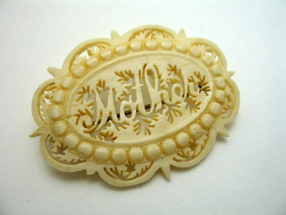 Victorian Carved Ivory Mother brooch antique c clasp pin late 1800s mothers day