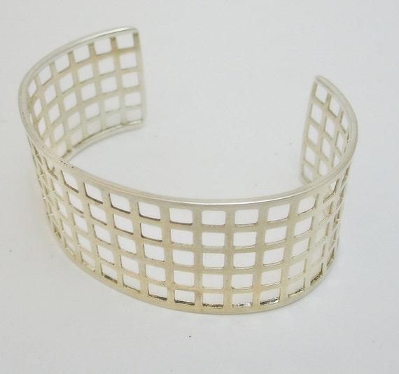 Fabulous Vintage Geometric 925 Sterling Silver Cuff Bracelet
