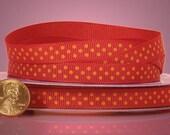 "Orange Polka Dots on Red Grosgrain Ribbon 3/8"" wide  - 3 yards"
