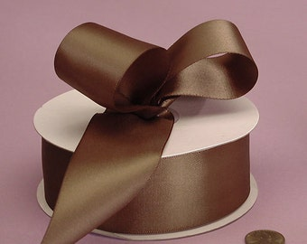 """Dark Chocolate Brown Satin Ribbon double faced 1.5"""" wide  - 3 yards"""