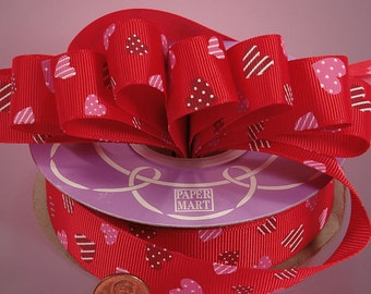 """Pink and Red Sweethearts on Red Grosgrain Ribbon 7/8"""" wide  - 2 yards"""