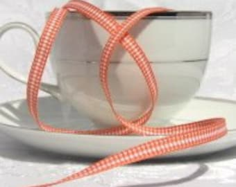 "Mini Orange Gingham on Grosgrain Ribbon 1/4"" wide  - 1 yard"