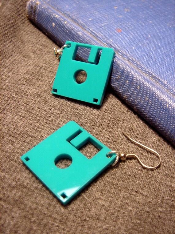 Floppy Disk Geek Earrings-  Laser Cut Acrylic