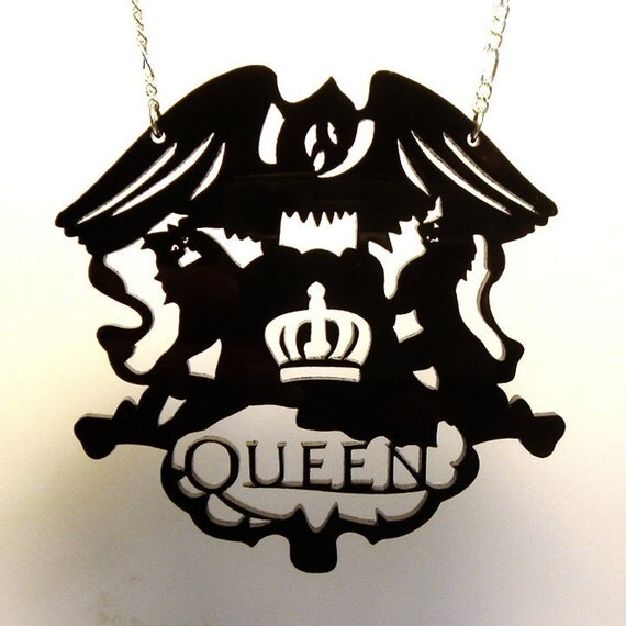 Queen Crest Necklace - Laser Cut Acrylic - Chain of your choice