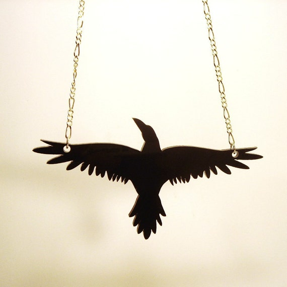 "Raven- inspired by ""The Crow"", Necklace-  Laser Cut Acrylic"