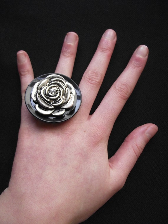 Ring Black Plastic Vintage Button Metal Rose Flower Adjustable Handmade