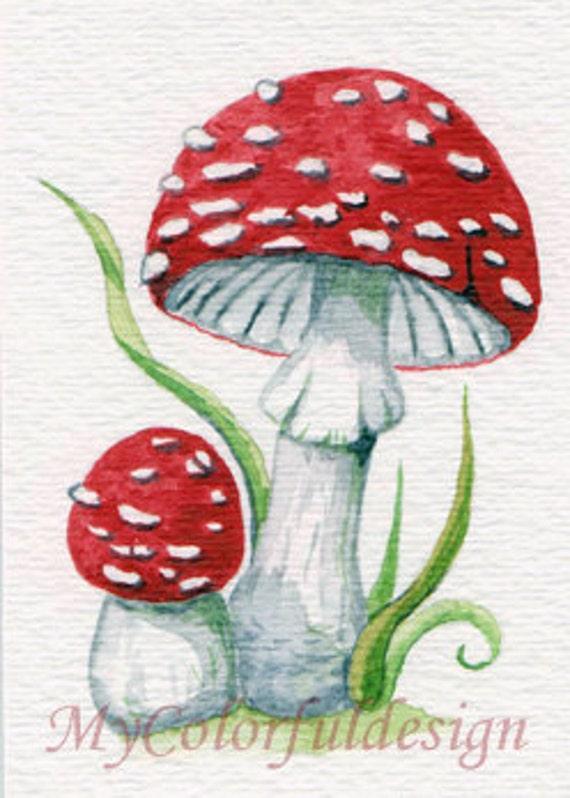 Original ACEO Watercolor- Red Mushroom