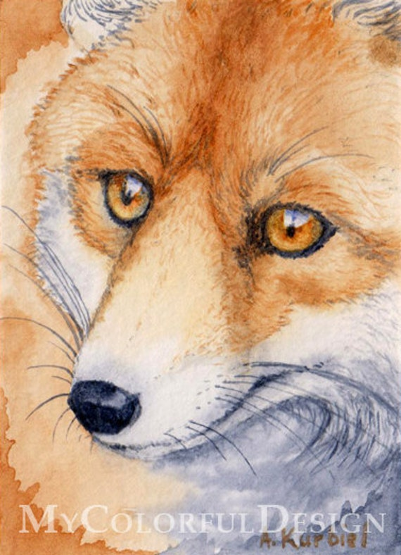 The Fox - ACEO Original Watercolor Painting