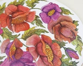1970s Red and Purple Floral Pot Stand Holder