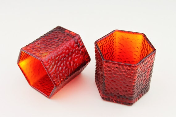 2 1960s Small Hexagonal Red Glass Bobbly Candle Holders with Cherry Blossom Base