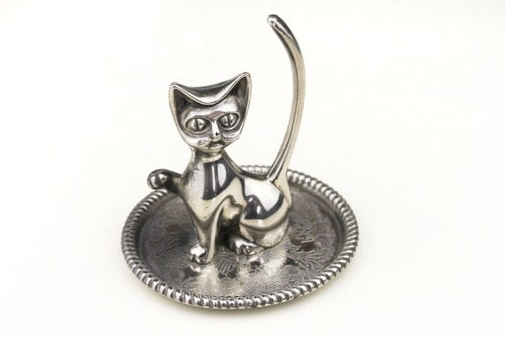 Silver Plated Cat Ring Holder Tray