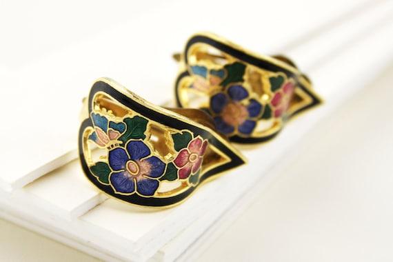 1980s Black Enamel Cloisonne Flower Clip On Earrings