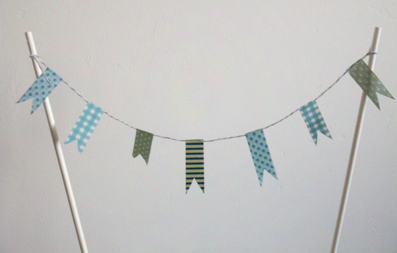 Cake Bunting party decoration washi tape blue by owlanddove