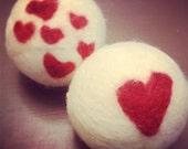 Twin Hearts Wool Felted Dryer Balls