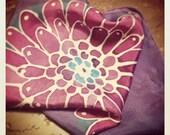 Purple Dahlia Silk Handkerchief - 100% Silk