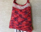 Red Knit Recycled Sweater Bag OOAK Purse Handbag Tote