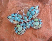 Turquoise and Green Vintage Butterfly Brooch