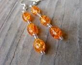 Orange Crackle Glass Beaded Earrings