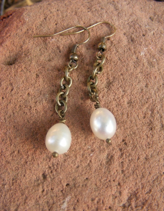 Freshwater Pearls on Antique Brass Chain Earrings