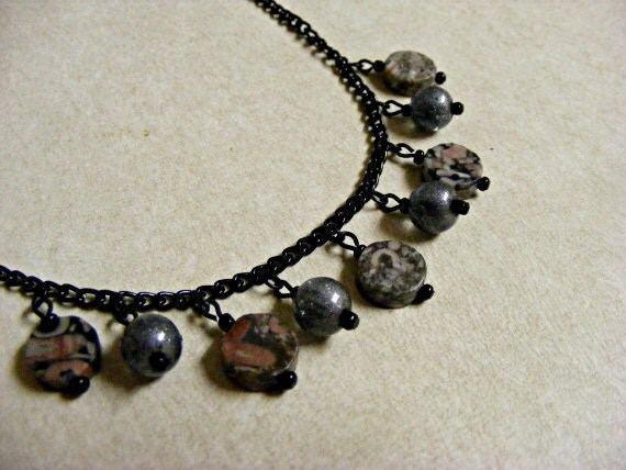 Circles of Jasper Necklace Black Chain