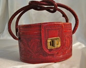 1940s or 1950s Red Tooled Leather Purse Western VLV