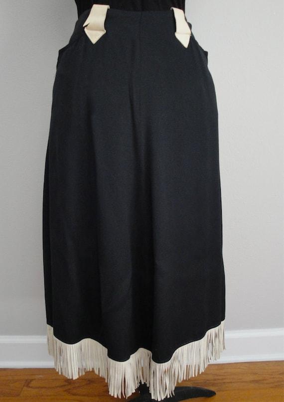 1940s or 1950s Western Black Skirt with Leather Fringe Rockabilly VLV