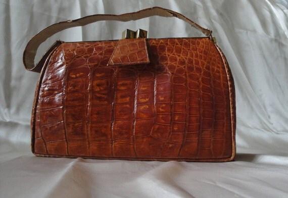 Vintage Alligator 50s Handbag / Glamorous 1950s Mid Century Purse