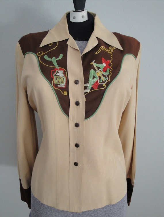 Vintage 1940s Western Shirt Womens 40s Cowgirl Shirt 1950s 50s Rosie Flores