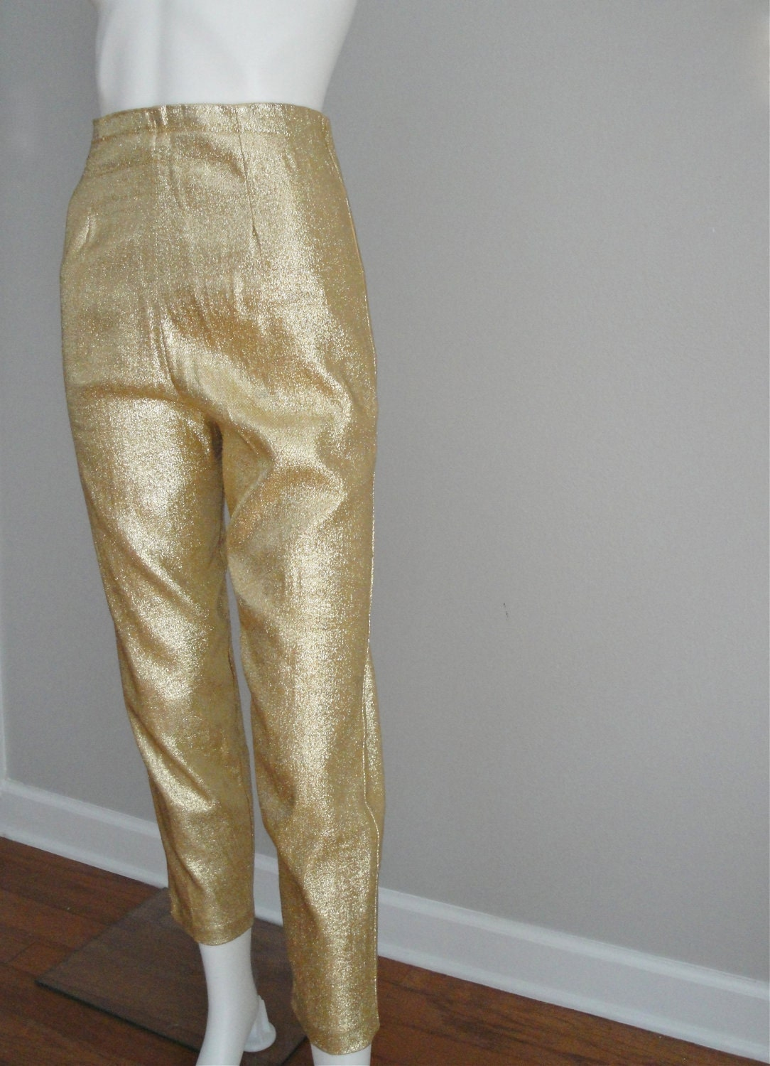 Vintage 1950s Gold Lame Capri Pants PIN UP by littlestarsvintage