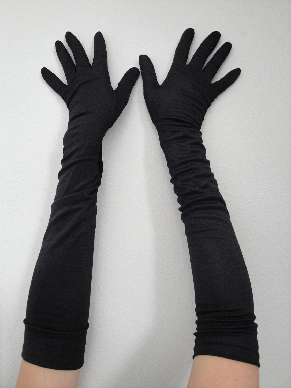 Vintage 1950s Long Black Gloves 50s Burlesque Bombshell Nos