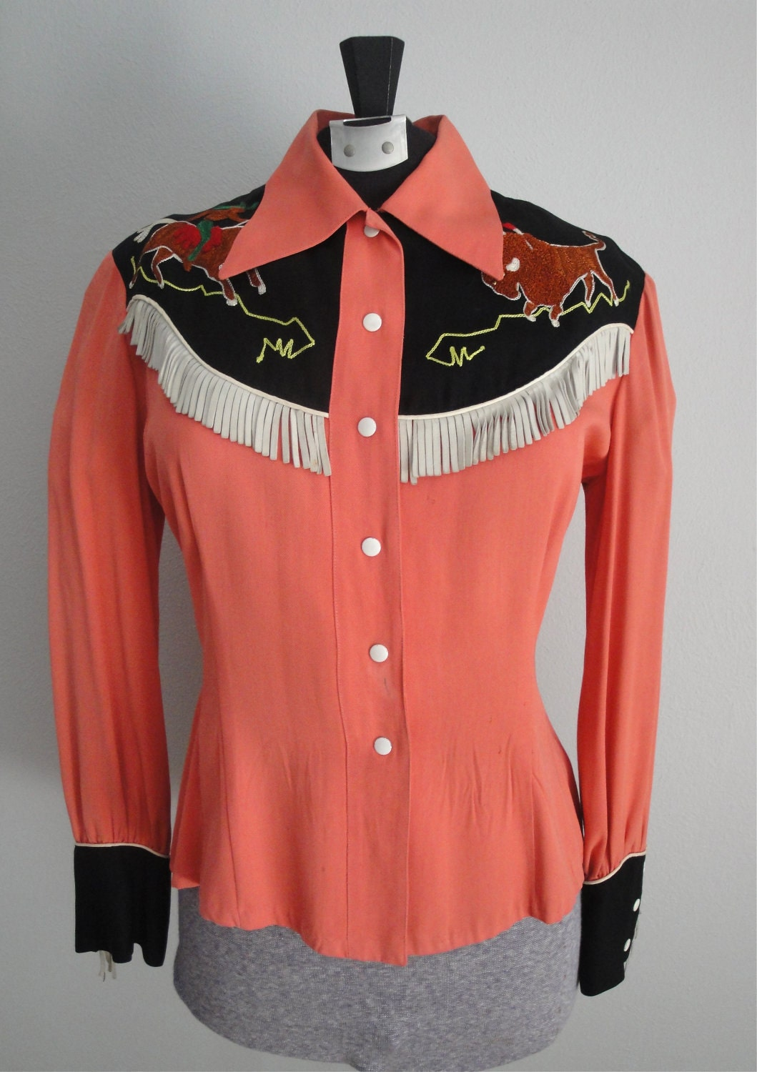 Reserved For Jennifervintage 1940s Western Shirt Womens 40s