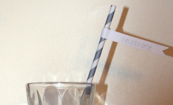 Vintage Gray and White Striped Straws with Free Printable Straw Flags - Paper Party Straws