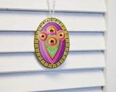 Peacock Necklace - Purple Pendant - Geometric Necklace- Resin Pendant- Purple Jewelry