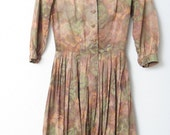 1950s Muted Watercolor Day Dress