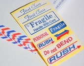Over 60 Retro Stickers - Vintage looking Airmail labels